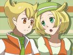 1boy 1girl bel_(pokemon) blonde_hair breasts commentary_request creatures_(company) game_freak green_eyes green_hat hat jacket jun_(pokemon) medium_hair nintendo open_mouth pokemon pokemon_(game) pokemon_bw pokemon_dppt short_hair yuta_(hoshiuta)