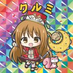 1girl :d animal bangs bikkuriman_(style) blush boots brown_eyes brown_hair character_name chibi confetti cross-laced_legwear dress eyebrows_visible_through_hair flower_knight_girl hair_between_eyes hat holding holding_staff kurumi_(flower_knight_girl) long_hair long_sleeves looking_at_viewer one_side_up open_mouth outstretched_arm red_dress red_hat rinechun shako_cap smile solo squirrel staff standing standing_on_one_leg thigh-highs very_long_hair walnut_(food) white_footwear white_legwear