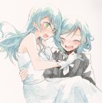 2girls :d ^_^ aqua_eyes bang_dream! bare_shoulders black_suit blush bow carrying clenched_hand closed_eyes closed_eyes dress formal gloves hair_bow hand_on_own_chest hikawa_hina hikawa_sayo incest itomugi-kun long_hair multiple_girls open_mouth princess_carry round_teeth short_hair siblings side_braids sisters smile suit teeth twincest twins upper_teeth wedding wedding_dress white_dress white_gloves white_neckwear wife_and_wife yuri