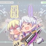 >_< 2girls :d anger_vein ayasaka bang_dream! bangs bass_guitar blonde_hair braid chibi choker commentary_request detached_sleeves eyebrows_visible_through_hair hair_ribbon heart heart-shaped_mouth instrument keytar long_hair multiple_girls open_mouth outline outstretched_arms purple_choker purple_ribbon pushing_away ribbon shaded_face shirasagi_chisato smile spread_arms standing standing_on_one_leg translation_request twin_braids v-shaped_eyebrows wakamiya_eve wavy_mouth white_hair white_legwear white_outline white_ribbon wrist_ribbon xd yellow_choker