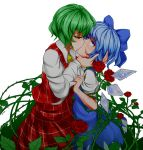 2girls ascot bangs blood blue_bow blue_dress blue_eyes blue_hair bow cirno commentary cowboy_shot crying crying_with_eyes_open dress english_commentary eyebrows_visible_through_hair flower from_side green_hair hair_bow highres ice ice_wings kazami_yuuka kiss long_sleeves looking_at_another multiple_girls pan-ooh pinafore_dress plaid plaid_skirt plaid_vest profile puffy_short_sleeves puffy_sleeves red_eyes red_flower red_rose red_skirt red_vest rose shirt short_hair short_sleeves simple_background skirt skirt_set standing tears thorns touhou vest white_background white_shirt wings yellow_neckwear yuri