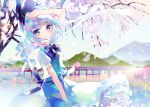 1girl bangs cherry_blossoms highres hinasumire konpaku_youmu looking_at_viewer smile solo touhou
