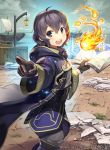 1girl black_eyes black_gloves black_hair boat book clouds company_name copyright_name crate fire fire_emblem fire_emblem:_kakusei fire_emblem_cipher flame from_side gloves hmk84 holding holding_book hood hood_down long_sleeves looking_to_the_side magic_circle mark_(female)_(fire_emblem) mark_(fire_emblem) nintendo official_art open_book open_mouth pointing robe short_hair sky solo watercraft wide_sleeves