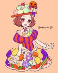 1girl :d alternate_costume blush brown_eyes brown_hair candy candy_cane cherry choker commentary_request do_m_kaeru food food_themed_clothes fruit heart jack-o'-lantern lollipop okumura_haru open_mouth persona persona_5 persona_5:_dancing_star_night short_hair skirt smile solo twitter_username