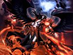 1boy arm_blade armor bird_wings black_hair black_wings commentary destruction english_commentary fallen_angel fallen_angel_wings fire genzoman long_hair lucifer male_focus original pale_skin red_armor red_eyes tagme weapon wings