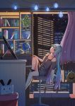 1girl bare_shoulders black_legwear blue_eyes blue_hair book building chair globe gradient_hair grey_shirt hatsune_miku highres holding holding_stylus indoors katana keyboard_(computer) knee_up leaning_back light_bulb long_hair mobu_(wddtfy61) monitor multicolored_hair night night_sky no_shoes off-shoulder_shirt office_chair open_window pink_hair plant potted_plant purple_hair ribbed_legwear sheath sheathed shirt short_sleeves sitting sky skyscraper socks solo star_(sky) starry_sky stylus sword twintails very_long_hair vocaloid weapon window