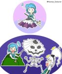 2girls absurdres blue_hair bone bush halloween heterochromia highres konpaku_youmu konpaku_youmu_(ghost) multiple_girls normie_detector skeleton surprised tatara_kogasa touhou umbrella white_hair