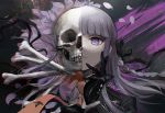 1girl bangs black_gloves black_ribbon bone braid closed_mouth commentary commentary_request danganronpa danganronpa_1 gloves hair_ribbon jacket kirigiri_kyouko long_hair looking_at_viewer looking_down necktie orange_neckwear petals purple_hair qosic ribbon side_braid single_braid skeleton skull violet_eyes