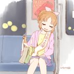 1girl ad bag bangs bench blue_skirt blush bow brown_hair character_request dated facing_viewer hair_bow hand_on_own_leg idolmaster jacket knees_together_feet_apart nagian parted_bangs pink_bow pink_jacket sash shirt short_hair sidelocks skirt sleeping solo train_interior trophy yellow_shirt