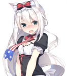 1girl american_flag american_flag_print animal_ear_fluff animal_ears azur_lane bangs black_dress blush bow breasts cat_ears choker cleavage collarbone commentary_request dress eyebrows_visible_through_hair flag_print green_eyes hair_between_eyes hair_bow hammann_(azur_lane) head_tilt highres long_hair looking_at_viewer nose_blush olive_(laai) open_mouth print_neckwear puffy_short_sleeves puffy_sleeves red_bow red_choker short_sleeves silver_hair simple_background small_breasts solo upper_body very_long_hair white_background