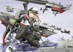 1girl aircraft aircraft_request black_gloves black_legwear blonde_hair capelet commentary_request firearm_request full_body gloves graf_zeppelin_(kantai_collection) grey_eyes gun hair_between_eyes hat headphones helicopter jacket kantai_collection looking_at_viewer machinery military military_hat military_uniform miniskirt necktie pantyhose peaked_cap rifle saizu_nitou_gunsou ship sidelocks skirt solo twintails uniform water watercraft weapon white_hat