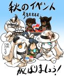 6+girls apron arm_guards barefoot blue_eyes brown_eyes brown_hair chopsticks collar comic commentary_request dress eating fire fish food hair_ornament hat headgear heavy_cruiser_hime hisahiko holding holding_plate horns ice_cream japanese_clothes kaga_(kantai_collection) kantai_collection katsuragi_(kantai_collection) kneeling legs_crossed long_hair multiple_girls multiple_tails nagato_(kantai_collection) northern_ocean_hime orange_eyes plate ponytail popsicle saury shinkaisei-kan side_ponytail sitting sleeveless sleeveless_dress smoke soft_serve starfish submarine_new_hime sun_hat sundress tail tongue tongue_out translation_request white_hair