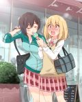 2girls absurdres arm_grab asagao_to_kase-san bag blush bush cafe closed_eyes couple food highres ice_cream jacket kase_tomoka multiple_girls nervous open_mouth sarfata school_uniform sweatdrop track_jacket trembling uniform yamada_yui yuri