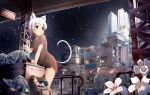 1girl animal_ears backpack bag blush bottle brown_dress building can cat_ears cat_tail collarbone commentary_request dress eyebrows_visible_through_hair flower highres holding holding_can house minato_nao night original parted_lips railing red_eyes short_hair short_sleeves sign skyscraper solo stairs standing star_(sky) stuffed_animal stuffed_bunny stuffed_toy tail torn_clothes torn_dress trash_bag white_hair