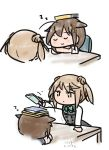 2girls artist_name black_hair black_serafuku book book_on_head braid chair chibi closed_eyes curse_(023) dated double_bun dress hair_bun hair_flaps hair_over_shoulder kantai_collection light_brown_hair michishio_(kantai_collection) multiple_girls object_on_head pinafore_dress remodel_(kantai_collection) school_uniform serafuku shigure_(kantai_collection) short_twintails simple_background sleeping stacking table twintails upper_teeth white_background zzz