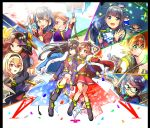 6+girls :d absurdres aijou_karen arm_around_shoulder bangs belt black_hair blonde_hair blue_eyes blue_hair boots bow bow_(weapon) brown_eyes brown_hair cherry_blossoms club confetti crown dagger daiba_nana double-breasted eyebrows_visible_through_hair glasses green_eyes hair_between_eyes hair_bow hair_ornament hairband hanayagi_kaoruko hand_holding highres holding holding_sword holding_weapon hoshimi_junna isurugi_futaba jacket_on_shoulders kagura_hikari leg_up long_hair mini_crown multiple_girls naginata open_mouth pleated_skirt polearm poleaxe red_eyes saijou_claudine samochau sash shoujo_kageki_revue_starlight skirt smile sparkle_hair_ornament swept_bangs sword sword_plant tassel tendou_maya tokyo_tower tsuyuzaki_mahiru twintails two_side_up v-shaped_eyebrows violet_eyes waist_cape weapon x_hair_ornament