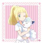 1girl alolan_form alolan_vulpix artist_name blonde_hair closed_mouth creatures_(company) game_freak gen_1_pokemon green_eyes holding holding_pokemon lillie_(pokemon) long_hair mei_(maysroom) nintendo one_eye_closed pokemon pokemon_(anime) pokemon_(creature) pokemon_sm_(anime) ponytail shirt short_sleeves skirt smile twitter_username white_shirt white_skirt