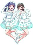 2girls :d bangs black_eyes black_hair blue_hair blue_outline blush clenched_hands commentary_request dress elbow_gloves eyebrows_visible_through_hair gloves hand_holding hands_up lace looking_at_viewer love_live! love_live!_sunshine!! matsuura_kanan multiple_girls open_mouth ponytail round_teeth seiyuu seiyuu_connection shoes sidelocks simple_background smile suwa_nanaka teeth tiara upper_teeth violet_eyes white_background white_dress white_footwear white_gloves yopparai_oni