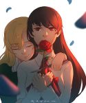 2girls bangs black_hair blonde_hair blurry blurry_background blurry_foreground closed_eyes closed_mouth dress eyebrows_visible_through_hair flower green_dress hair_over_one_eye holding holding_flower hug ib ib_(ib) koyorin looking_at_viewer mary_(ib) multiple_girls palette_knife petals red_eyes red_flower red_rose rose shirt smile upper_body white_background white_shirt