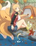 1girl :o animal_ears blush bonfire breasts fire fish fox_ears fox_tail jacket kumi_(senran_kagura) large_breasts leaf long_hair multiple_tails official_art open_mouth orange_hair red_eyes senran_kagura senran_kagura_new_wave shirt shoes shorts sitting solo tail tent very_long_hair water white_shirt yaegashi_nan