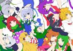 6+girls :3 :o :q ;) ;d american_flag_dress animal_ear_fluff animal_ears arm_up bangs black_bow black_hair black_hairband black_hat black_ribbon blonde_hair blouse blue_dress blue_eyes blue_neckwear blue_skirt bob_cut bow braid breasts brown_hair cat_ears clownpiece collarbone commentary_request covering_mouth dress eyebrows_visible_through_hair flat_color frog_hair_ornament green_bow green_dress green_eyes green_hair green_ribbon green_vest grey_background hair_between_eyes hair_bow hair_ornament hair_ribbon hair_tubes hairband hand_holding hands_up hat head_tilt highres horns ishimu izayoi_sakuya jester_cap kaenbyou_rin kijin_seija kochiya_sanae konpaku_youmu large_breasts long_hair long_sleeves looking_at_viewer maid maid_headdress medium_breasts mononobe_no_futo multicolored_hair multiple_girls neck_ribbon neck_ruff necktie nishida_satono one_eye_closed open_mouth parted_lips pink_dress pink_eyes polka_dot_hat pom_pom_(clothes) ponytail profile puffy_short_sleeves puffy_sleeves purple_hair purple_hat rabbit_ears red_dress red_eyes red_neckwear red_sailor_collar redhead reisen_udongein_inaba ribbon sailor_collar shirt short_hair short_hair_with_long_locks short_sleeves silver_hair simple_background single_sidelock skirt smile snake_hair_ornament streaked_hair striped striped_dress teireida_mai tongue tongue_out toramaru_shou touhou twin_braids twintails upper_body upside-down vest white_blouse white_dress white_hair white_shirt wide_sleeves wing_collar yellow_bow yellow_eyes