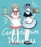 2girls apron aqua_background arms_behind_back black_bow black_footwear black_shirt blue_eyes blue_hair blue_skirt blush bow breast_pocket brown_hair cherry cherry_earrings coke collar cup dress drink drinking_straw earrings eyebrows_visible_through_hair flower_earrings food food_themed_earrings french_fries fruit full_body hair_bow hamburger high_heels holding holding_food holding_tray ice ice_cube jewelry long_hair medium_hair milkshake multiple_girls noeru_(noellemonade) original pink_hair plaid plaid_dress pocket ponytail red_dress red_footwear shirt shoes skirt standing tray waitress