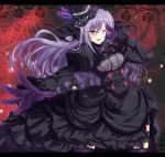 1girl black_dress black_hat breasts butterfly_hat_ornament commentary_request dress gloves glowing glowing_eyes grey_hair hat idolmaster idolmaster_cinderella_girls idolmaster_cinderella_girls_starlight_stage juliet_sleeves kanna543 kanzaki_ranko long_hair long_sleeves medium_breasts outstretched_hand puffy_sleeves purple_gloves purple_legwear red_eyes silk solo spider_web thigh-highs tilted_headwear v