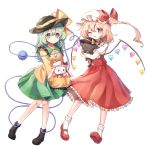 2girls ;p ascot black_hat blonde_hair blush boots bow breasts carrying cat collared_shirt crystal eyeball flandre_scarlet frilled_shirt frilled_shirt_collar frilled_skirt frilled_sleeves frills green_eyes green_hair green_skirt hat hat_bow hat_ribbon heart heart_of_string highres komeiji_koishi long_hair long_skirt long_sleeves looking_at_viewer medium_hair mob_cap multiple_girls one_eye_closed pudding_(skymint_028) puffy_short_sleeves puffy_sleeves rabbit red_bow red_eyes red_ribbon red_skirt red_vest ribbon shirt short_sleeves side_ponytail simple_background skirt skirt_set small_breasts socks string third_eye tongue tongue_out touhou vest wavy_hair white_background white_legwear white_shirt wide_sleeves wings wrist_cuffs yellow_neckwear yellow_ribbon yellow_shirt
