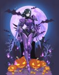 1girl alternate_costume bat black_hair bodysuit dark_skin full_moon graveyard grey_skin hair_tubes halloween halloween_costume helmet highres jack-o'-lantern leaves mechanical_wings moon night overwatch pharah_(overwatch) pointy_ears possessed_pharah power_armor pumpkin slit_pupils smile solo tombstone tumblr_username twitter_username watermark web_address wings ziyo_ling