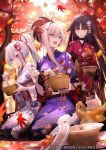 3girls autumn autumn_leaves bag blue_eyes chopsticks eating fate/grand_order fate_(series) food japanese_clothes katou_danzou_(fate/grand_order) kimono lawson long_hair miyamoto_musashi_(fate/grand_order) multiple_girls noodles official_art picnic plastic_bag ponytail red_eyes shinooji tomoe_gozen_(fate/grand_order) yellow_eyes yukata