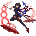 1girl absurdres ahoge animal asymmetrical_wings bangs black_dress black_hair black_legwear blue_wings breasts danmaku dress full_body hair_between_eyes highres holding holding_weapon houjuu_nue medium_hair nob1109 open_mouth polearm red_eyes red_footwear red_wings shoes simple_background small_breasts snake solo teeth thigh-highs touhou trident ufo v-shaped_eyebrows weapon white_background wings wristband zettai_ryouiki
