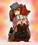 bag black_skirt boots brown_hair commentary_request flat_chest highres japanese_clothes kantai_collection kariginu leaf magatama maple_leaf namakura_neo ryuujou_(kantai_collection) skirt twintails visor_cap
