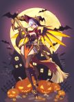 1girl alternate_costume bat breasts cleavage earrings elbow_gloves full_body full_moon gloves halloween halloween_costume hat highres jack-o'-lantern jewelry leaves lipstick looking_at_viewer makeup mechanical_wings medium_breasts mercy_(overwatch) moon night overwatch pumpkin purple_lipstick short_hair smile solo thigh-highs tumblr_username twitter_username violet_eyes watermark web_address white_hair wings witch witch_hat witch_mercy ziyo_ling