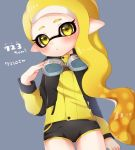 1girl asymmetrical_hair blonde_hair blush domino_mask hand_up inkling long_hair mask md5_mismatch nintendo open_mouth shorts splatoon splatoon_2 very_long_hair yellow_eyes