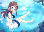 1girl :d blue_eyes blue_sky brown_hair clouds commentary_request dress from_above hair_rings highres mukaido_manaka nagi_no_asukara open_mouth partially_submerged reflection rock sailor_dress school_uniform serafuku sitting sky smile suzu_(minagi) water wet