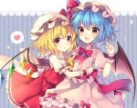 2girls absurdres bangs bat_wings blonde_hair blue_background blue_hair blush bow bowtie center_frills commentary_request cowboy_shot crystal eyebrows_visible_through_hair flandre_scarlet frilled_shirt_collar frills hair_between_eyes hand_up hat hat_bow hat_ribbon heart highres hug index_finger_raised lace_trim long_hair looking_at_viewer mob_cap multiple_girls one_side_up open_mouth parted_lips petticoat pink_hat puffy_short_sleeves puffy_sleeves red_bow red_eyes red_neckwear red_ribbon red_sash red_skirt red_vest remilia_scarlet ribbon ruhika sash short_sleeves siblings sisters skirt skirt_set smile sparkle spoken_heart striped striped_background touhou vertical-striped_background vertical_stripes vest white_hat wings wrist_cuffs yellow_bow yellow_neckwear