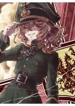 1girl blonde_hair evil_smile hat iron_cross looking_at_viewer military military_hat military_uniform smile solo tanya_degurechaff uniform user_nhxm3434 yellow_eyes youjo_senki