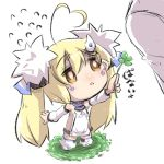 1girl :o ahoge azur_lane bangs bare_shoulders blonde_hair blush brown_eyes chibi clothes_writing clover commentary_request detached_sleeves dress eldridge_(azur_lane) eyebrows_visible_through_hair facial_hair flying_sweatdrops four-leaf_clover full_body hair_between_eyes heart_ahoge holding long_hair long_sleeves parted_lips puffy_long_sleeves puffy_sleeves sleeveless sleeveless_dress solo standing tail thigh-highs u-non_(annon'an) very_long_hair white_background white_dress white_footwear white_legwear