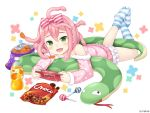 1girl :d blue_legwear blush bottle bow candy chips fang food full_body game_console green_eyes hair_between_eyes hair_bow lollipop lying monmusu_harem namaru_(summer_dandy) official_art on_stomach open_mouth orange_juice pink_bow pink_hair pink_pajamas polka_dot smile snack snake snake_hair solo striped striped_bow striped_legwear white_background