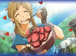 1boy ^_^ arm_strap blonde_hair bowl brown_gloves closed_eyes closed_eyes day eating fingerless_gloves food gloves happy heart link low_ponytail meat medium_hair nintendo oka_kana outdoors pointy_ears sidelocks solo spoon the_legend_of_zelda the_legend_of_zelda:_breath_of_the_wild tunic