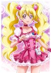 1girl :d bare_arms blonde_hair bow choker collarbone corset cowboy_shot cure_peach earrings fresh_precure! hair_ornament hanzou heart heart_earrings heart_hair_ornament highres jewelry long_hair looking_at_viewer magical_girl momozono_love open_mouth pink_bow pink_eyes pink_neckwear pink_skirt precure puffy_sleeves purple_background skirt smile solo sparkle standing twintails wrist_cuffs