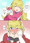 2girls armlet blue_eyes blush bowsette breasts cleavage collar comic crown dress earrings engrish full-face_blush jewelry long_hair mario_(series) multiple_girls new_super_mario_bros._u_deluxe nintendo princess_peach ranguage sesield super_crown super_mario_bros. tears