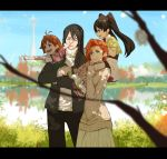 2boys 2girls black_hair breasts commentary dishwasher1910 english_commentary family father_and_daughter green_eyes lie_ren long_hair mother_and_son multiple_boys multiple_girls nora_valkyrie orange_hair red_eyes rwby short_hair smile twintails