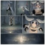 ! 1girl :o antennae artist_name black_sclera comic forest fur_collar grey_hair heart highres long_hair matilda_vin monster_girl moth_girl moth_wings mother_lumi multiple_arms nature night original outdoors silent_comic tree water white_eyes wings