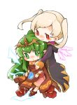 2girls bracelet chiki cloak closed_mouth dress female_my_unit_(fire_emblem:_kakusei) fire_emblem fire_emblem:_kakusei fire_emblem:_monshou_no_nazo fire_emblem_heroes gimurei green_eyes green_hair highres hood hood_down hug hug_from_behind jewelry long_hair long_sleeves mamkute multiple_girls my_unit_(fire_emblem:_kakusei) nintendo parted_lips pink_dress pointy_ears ponytail red_eyes robe shunrai simple_background smile stone tiara twintails white_background white_hair
