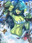 armpits blue_hair breasts chains cleavage energy forehead_jewel giantess giga_mermaid gpwlghr123 green_skin head_fins highres large_breasts long_hair mermaid monster_girl navel red_eyes shantae:_half-genie_hero shantae_(series) shell shell_bikini toned