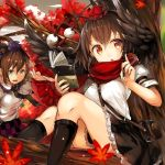 2girls absurdres ass autumn autumn_leaves bag bangs black_hair black_legwear black_neckwear black_skirt black_wings book breasts brown_eyes brown_hair checkered checkered_skirt clouds commentary_request eyebrows_visible_through_hair feathered_wings feet_out_of_frame frilled_shirt_collar frills hair_between_eyes hands_up hat highres himekaidou_hatate holding holding_book holding_pen huge_filesize kneehighs long_hair looking_at_viewer medium_breasts miniskirt multiple_girls necktie open_mouth outdoors pen petticoat pom_pom_(clothes) puffy_short_sleeves puffy_sleeves purple_skirt red_eyes red_scarf satchel scarf shameimaru_aya shirt short_hair short_sleeves sitting skirt sky tassel thighs tokin_hat touhou twintails umagenzin white_shirt wing_collar wings