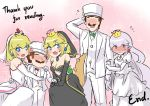 2boys 3girls alternate_costume arm_hug bare_shoulders black_dress blonde_hair blue_earrings blush bouquet bowsette bridal_veil cleavage_cutout comic crying crying_with_eyes_open dress english fang flower flying_sweatdrops formal full-face_blush good_end height_difference horns husband_and_wife husband_and_wife_and_wife lavender_hair long_hair looking_at_viewer looking_back luigi luigi's_mansion mario_(series) multiple_boys multiple_girls new_super_mario_bros._u_deluxe nintendo nose_blush ponytail princess_king_boo princess_peach red_earrings sesield short_hair shy strapless strapless_dress streaming_tears suit super_crown super_mario_odyssey tears veil very_long_hair wedding_dress white_dress white_suit