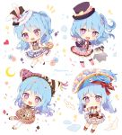 4girls :d alice_in_wonderland alternate_hairstyle animal_ears bang_dream! bangs bird black_neckwear blue_flower blue_hair blue_rose blush bow bowtie character_name chibi confetti cosplay crescent dress fake_animal_ears flower frilled_dress frilled_hat frills hands_up hat hat_bow hat_flower head_chain heart highres jester_cap long_hair matsubara_kanon mismatched_legwear multicolored multicolored_clothes multicolored_dress multiple_girls multiple_persona notice_lines one_side_up open_mouth penguin petals pirate_hat pocket_watch pointing print_dress rabbit_ears rose short_sleeves smile sparkle star striped striped_legwear taya_5323203 top_hat twintails v-shaped_eyebrows vertical-striped_legwear vertical_stripes violet_eyes watch white_flower white_legwear white_neckwear white_rabbit white_rabbit_(cosplay) white_rose wrist_cuffs yellow_bow