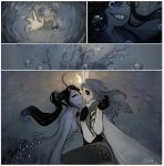 2girls air_bubble artist_name black_hair black_sclera blue_skin bubble closed_eyes comic freckles fur_collar gills grey_hair head_fins heart highres kiss long_hair matilda_vin monster_girl moth_girl moth_wings mother_lumi multiple_arms multiple_girls nose_kiss original ponytail sharp_teeth silent_comic teeth water wings